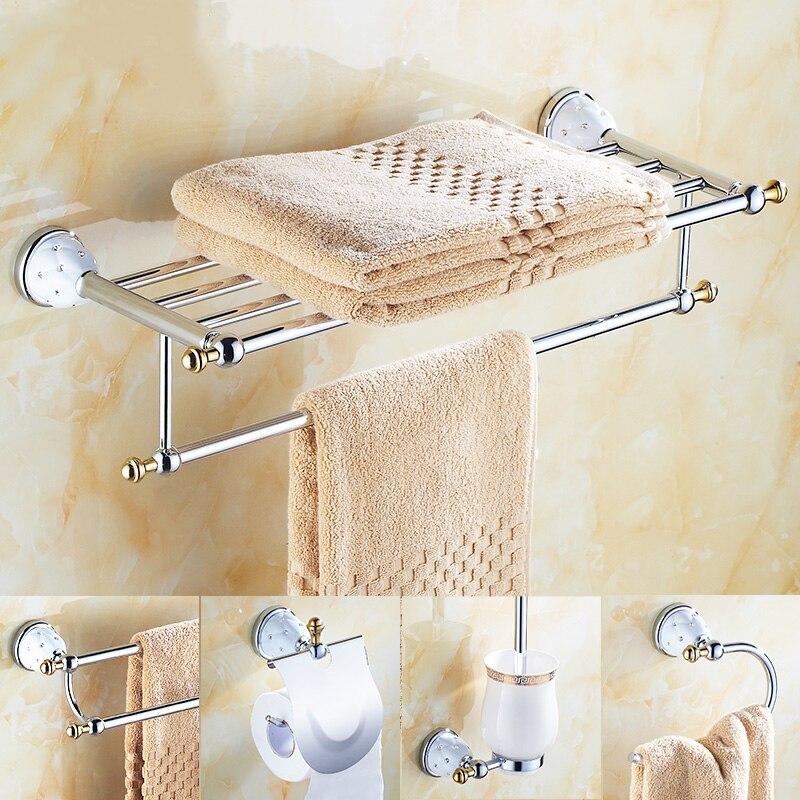 Baño de plata europeo con toallero colgante de diamantes accesorios de baño en juego de gancho de Bata de Metal con soporte de cepillo de dientes cromado