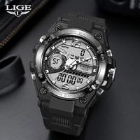 Часы наручные LIGE Мужские кварцевые цифровые, спортивные креативные водонепроницаемые с будильником и двойным дисплеем, для дайвинга, 2021
