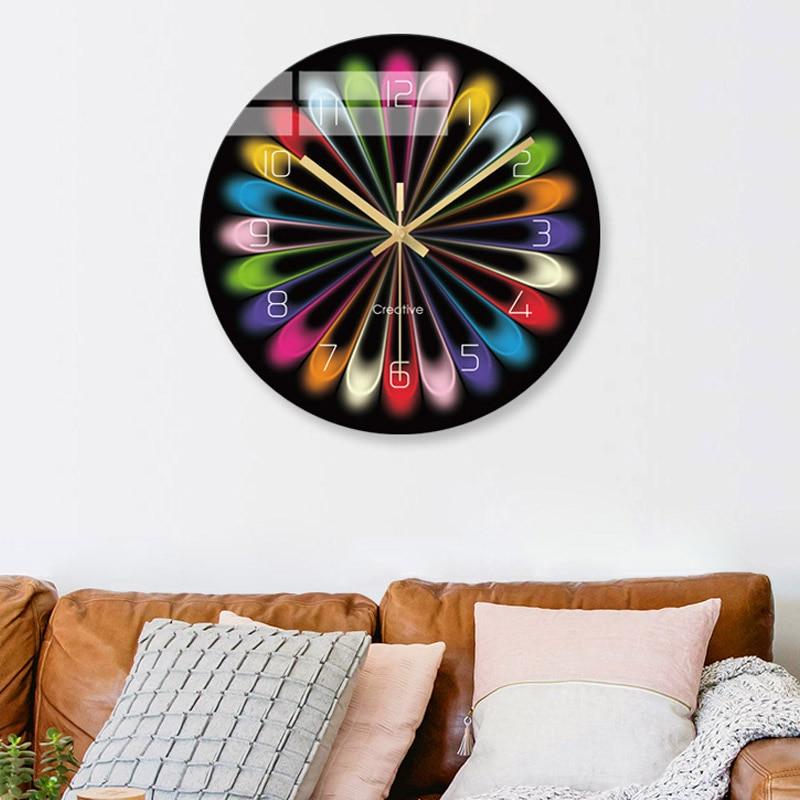 Diseño moderno reloj de pared digital sala de estar hogar reloj silencioso creativo mármol vidrio templado Reloj de pared moda simple cuarzo clo