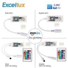 Maison magique 5-28V MiNi contrôleur WIFI RGB/RGBW + télécommande IR 24Key pour la maison intelligente/Google Amazon Alexa