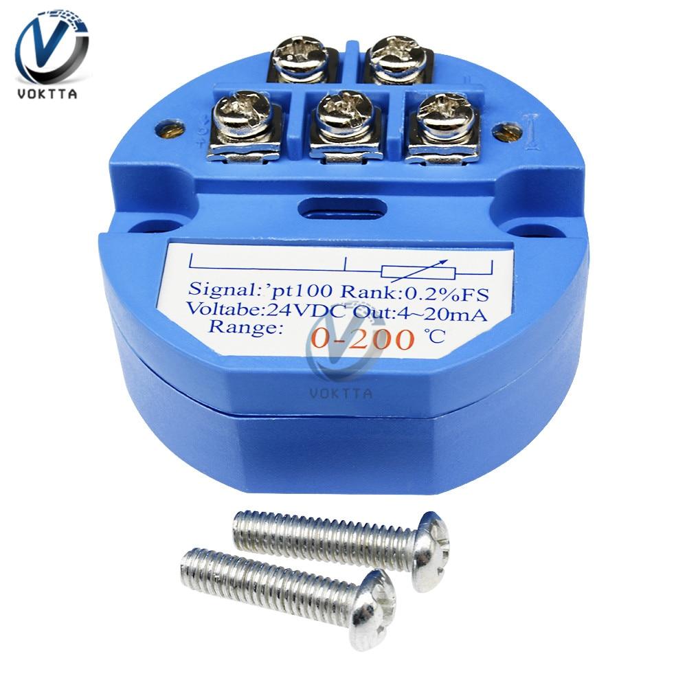 RTD PT100 transmisor de Sensor de temperatura 24V CC 0-200 Celsius rango sensores de temperatura módulo detector de aislamiento 4-20MA CC 24V
