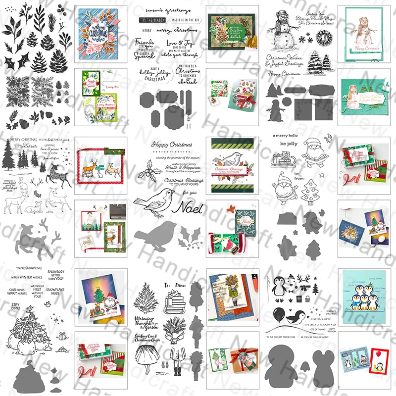 2021 New Christmas Halloween English Words Pattern Clear Stamps and Metal Cutting Dies Set For Making Greeting Card Scrapbooking