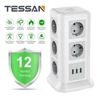 TESSAN Smart Power Board EU Plug 3 USB and 11 Outlets Extension 2 0M Cable Tower Charger Multi-Port Desktop Outlets Smart Home