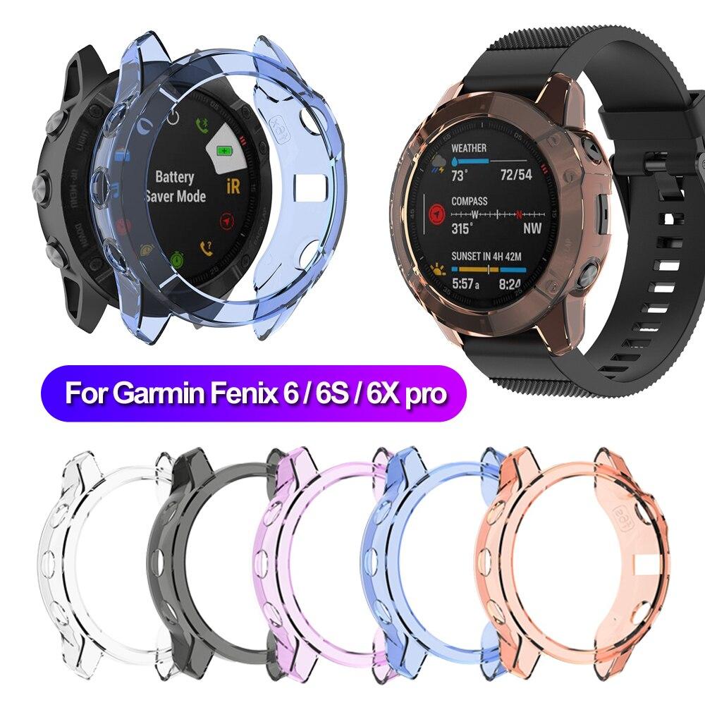 Para Garmin Fenix 6 6S 6X Pro TPU caja de reloj pulsera inteligente marco Protector carcasa de repuesto suave a prueba de golpes Protector Transparente