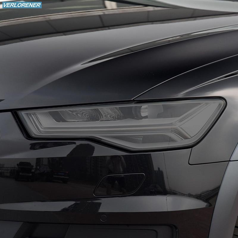 2 قطعة سيارة العلوي طبقة رقيقة واقية المدخن الأسود تينت التفاف الفينيل شفاف بولي Sticker ملصق لأودي A6 C7 4G S6 RS6 2012-2018
