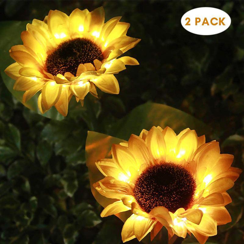 2 uds. Lámpara LED estilo girasol para césped, lámpara de flores impermeable para exteriores, iluminación para patio, césped y jardín, lámparas solares decorativas