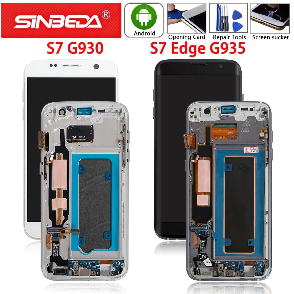Amoled original para samsung galaxy s7 borda g935 display lcd digitador da tela de toque com quadro para samsung s7 g930f tela lcd