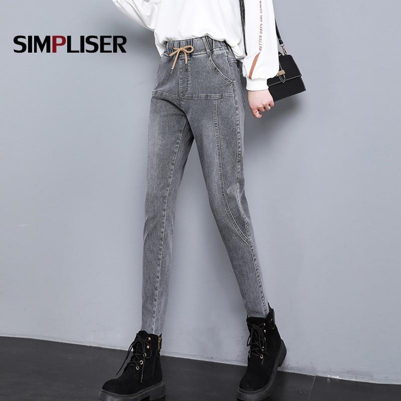 Plus Size 34 Denim Jeans Pants Women Elastic Waist Female Denim Trousers Grey Ladies Mom Jeans Femme Pantalon Large Size