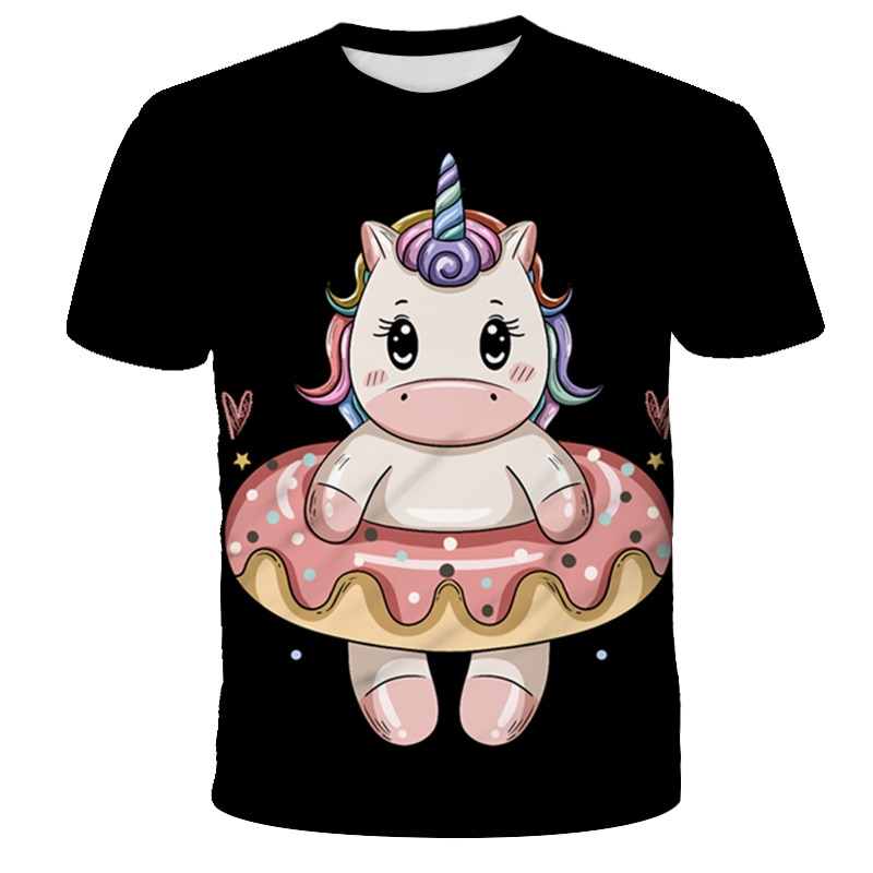 2021 New unicorn Fashion polyester Boys Girls T-Shirts Children Kids Cartoon Print T shirts Baby unicorn 3D Tops Clothing Tee
