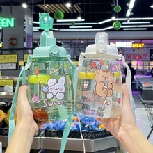 1300ml Large Capacity Outdoor Sports Water Bottle With Straw Strap Creative Cute Sticker Portable Pl