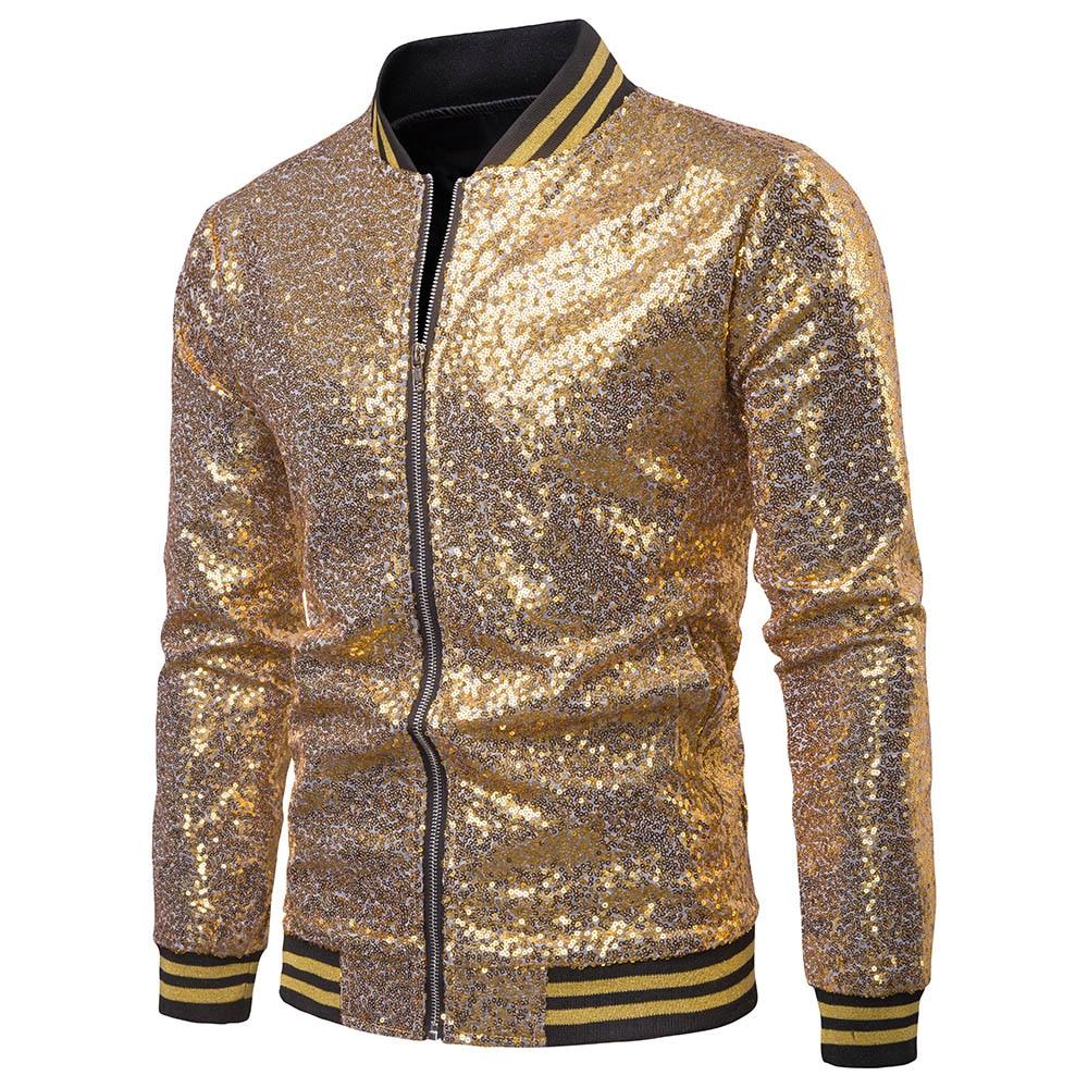 Men Shiny Blazers Gold Sequin Glitter Suit Jackets Male Nightclub Zipper Suit Blazer DJ Stage Blazers