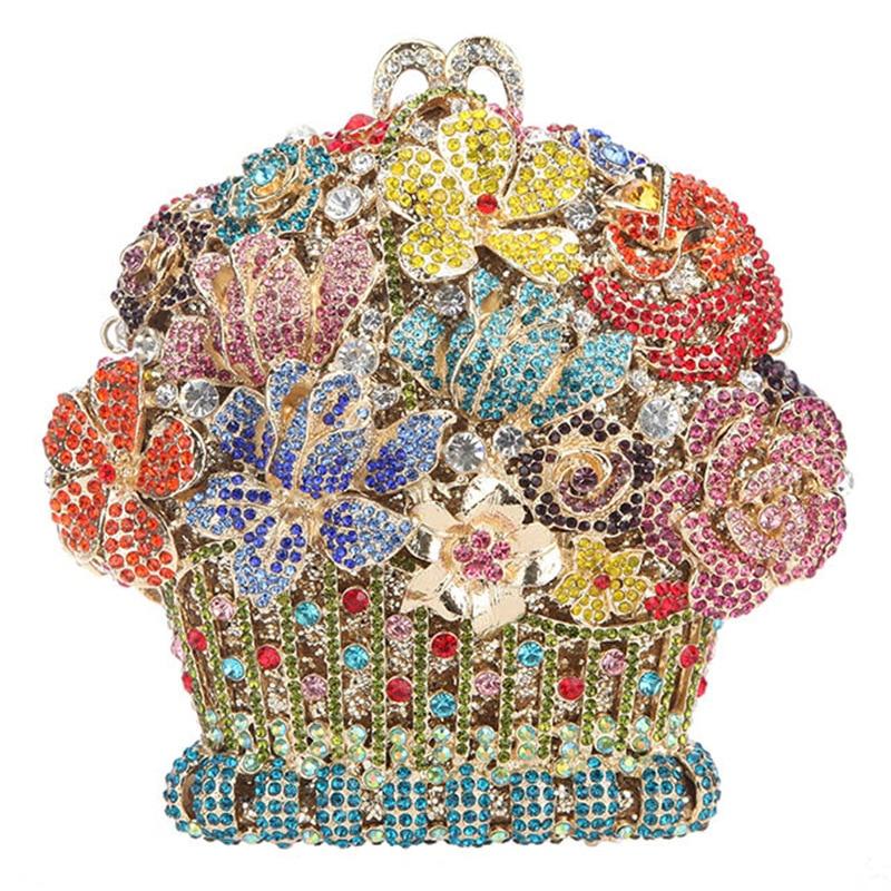 حقيبة سهرة من الكريستال المعدني المموج ، 17 × 15 سنتيمتر ، حقيبة يد ، سلة زهور ، ألماس a6909