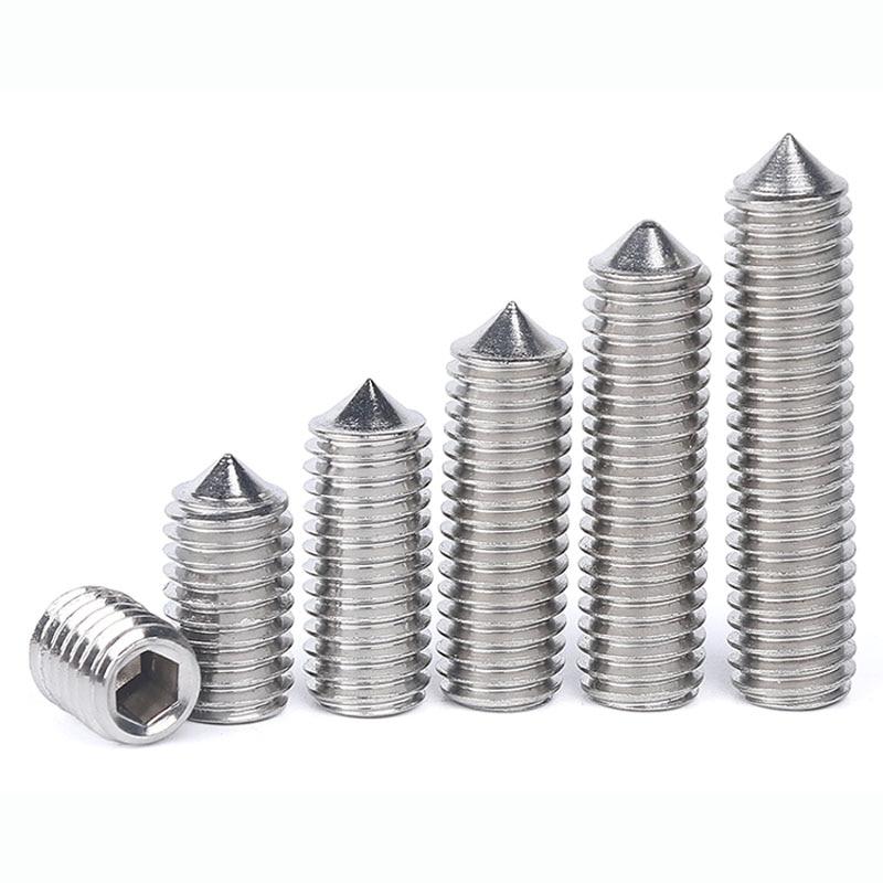 304 Stainless Steel  Inner Hex  Set Screws with Cone Point Flat Top  Hexagon Socket Tightening Screw M8 M10 M12