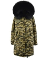 meifng new design long parka with black fur camouflage faux fur coat men and women winter outwear