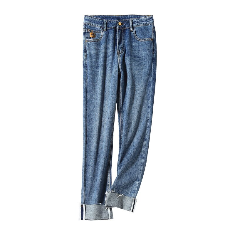Women's Jeans 2021 Fall New High-Waist Straight Trousers Gradient Blue High-Elastic Casual Curled Edge Washed All-Matched Pants