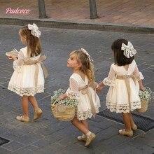Robe de soirée en dentelle pour petites filles   Blanc, à la mode, longueur aux genoux, manches longues, avec nœud, vêtements de princesse de mariage, printemps et été