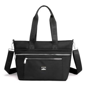 New Big Nylon Fabric Shoulder Bag Women's Tote Bags Large Cloth Zipper Casual Handbags for Women Shopper Bag Solid Color Purse