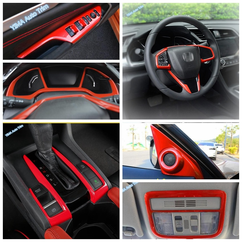Kit de reparación de interiores Lapetus para Honda Civic 2016-2020, transmisión roja para Panel de caja de cambios, decoración de marco/embellecedor de cubierta de tablero