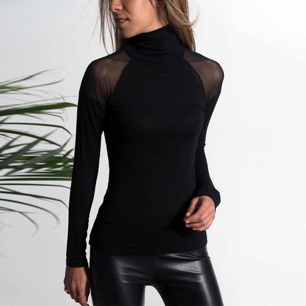 Moda feminina camiseta shein vadim camisa feminina ropa mujer cor sólida casual camisa de manga comprida malha alta-pescoço superior h4