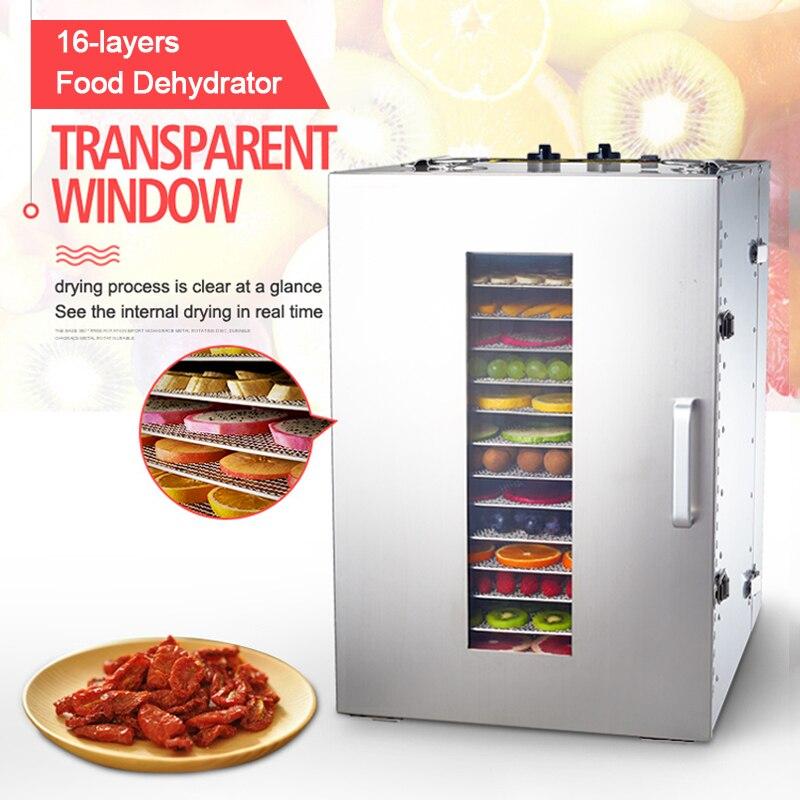 التجارية المجففة الفاكهة ديهيدراتور 16 طبقات الفولاذ المقاوم للصدأ الغذاء ديهيدراتور ST-02 آلة الفاكهة المجففة الفاكهة نزح المياه