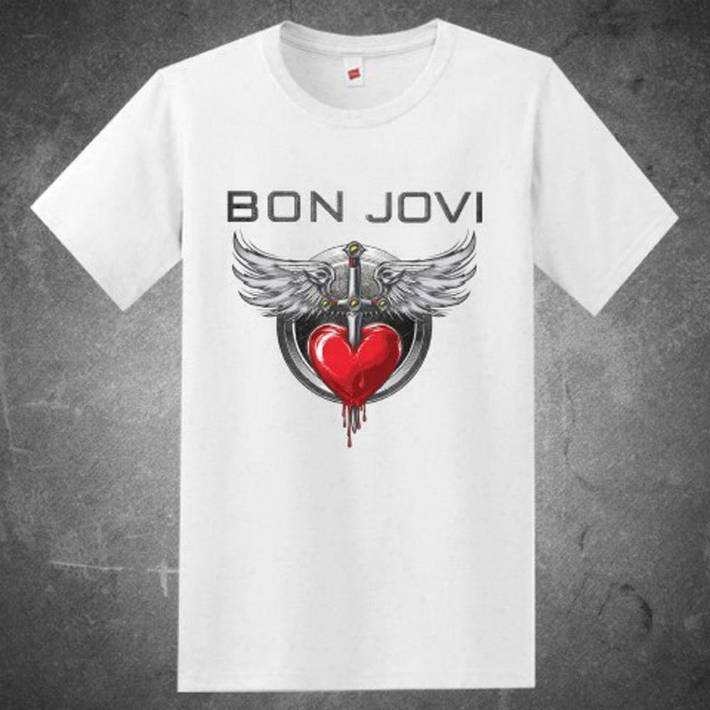 NEW BON JOVI ROCK BAND TOUR LOGO MENS WHITE SHIRT USA SIZE S TO XXXL ZM1Men T Shirt 2019 Summer 100% Cotton