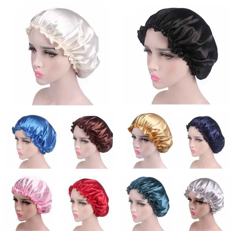 Women Waterproof Shower Caps Soft Hair Care Sleeping Hat Comfortable Elastic Nightcap Head Cover Sty