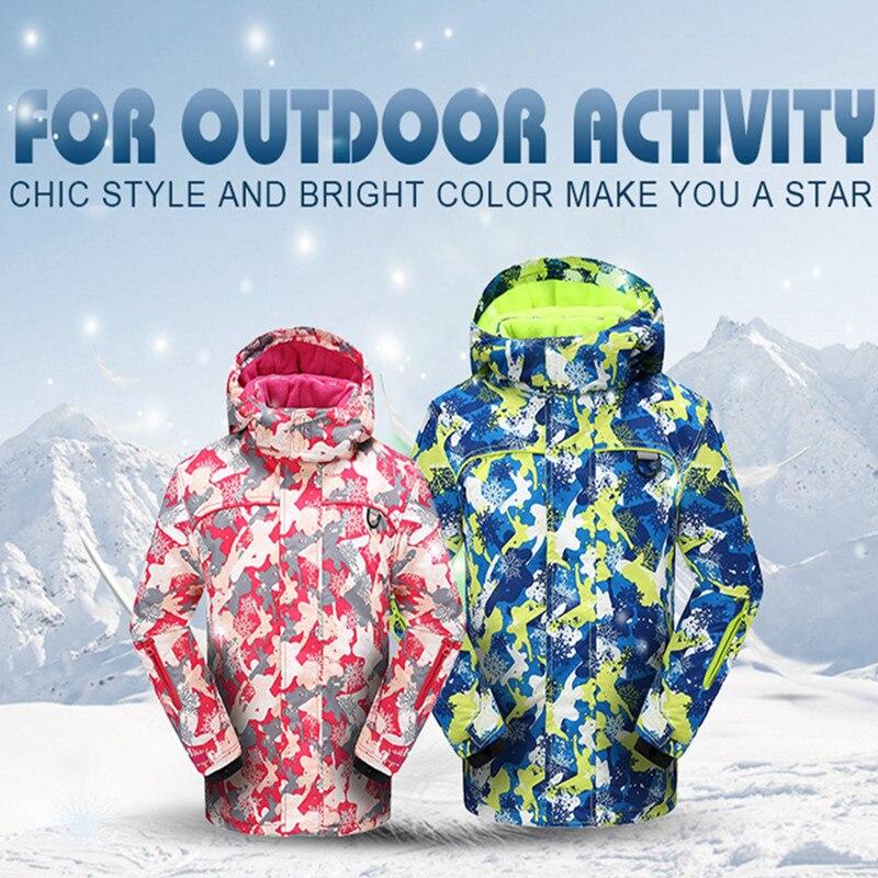 Childrens Winter Waterproof Skiing Snowboard Suit Fleece Inside Boys Girls Warm Clothings Teens Skiing Jackets Pants Kids Hooded