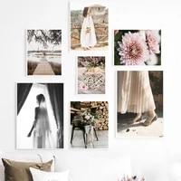 Toile dart mural avec pont de fleurs pour fille  peinture sur toile  affiches et imprimes nordiques  images murales pour decoration de maison