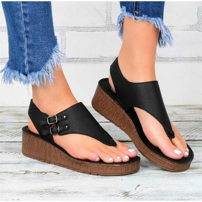 Dropshipping Female Beach Outside Sandals Women Summer Shoes Woman Wedges Buckle Strap Plus Size Flip Flops Pu Ladies Sandal