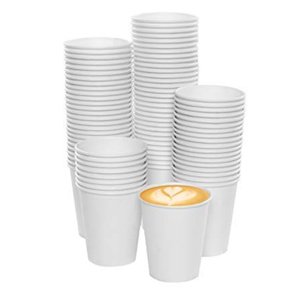 Vasos desechables de cartón de 100 Uds. De 180ML, tazas de papel blancas para bebidas calientes y Bebidas frías Para el hogar y la Oficina, tazas de mesa para café, cerveza y zumo de leche