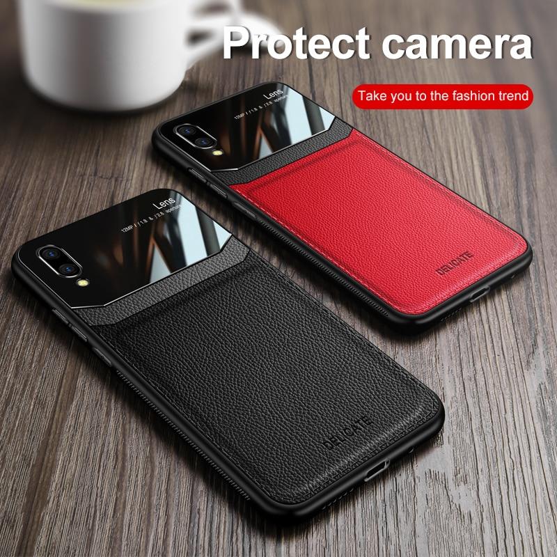 Vivo Y91i Y91C Y93S Case Silicone Bumper Leather Plexiglass Matte Back Cover Hard Case for VivoY91C VivoY91i VivoY93S Phone Bags
