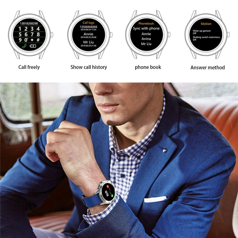 DT98 Smart Watch IP68 Waterproof 1.3 Full Round HD Screen ECG Detection Multi Dials Smartwatch Fitness Tracker Men