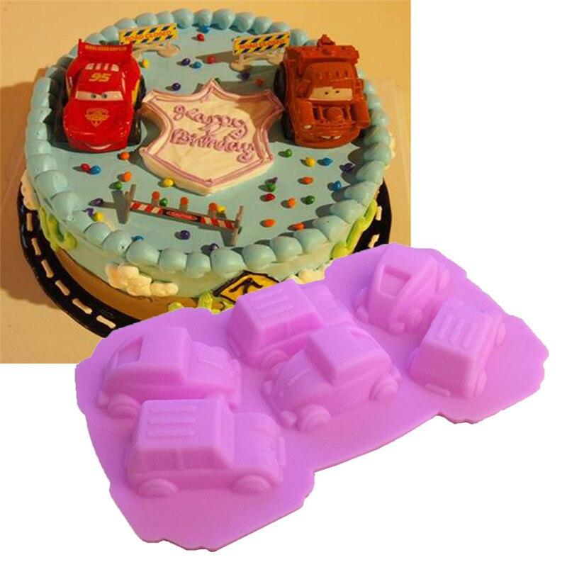 Molde de tarta de silicona para coches deportivos, molde de silicona para Chocolate, moldes de silicona para Fondant, cubos de hielo, moldes decorativos para Tartas, DIY, utensilios para hornear gelatina