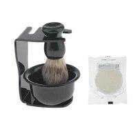 4 pieces professional salon beard hair shaving brush mug bowl shave stand soap travel set for men