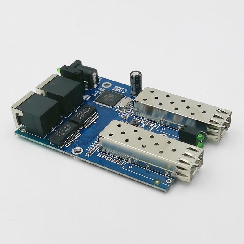 Gigabit Ethernet fiber switch 2 RJ45 UTP 2 SFP fiber Gigabit Fiber Optical Media Converter 2SC 2RJ45 Ethernet 10/100/1000M PCB enlarge