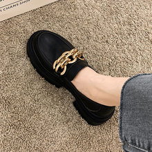 Leather Shoes Women's Shoes Autumn 2021 New Style Metal Chain Thick Heel Fashion Retro Loafers