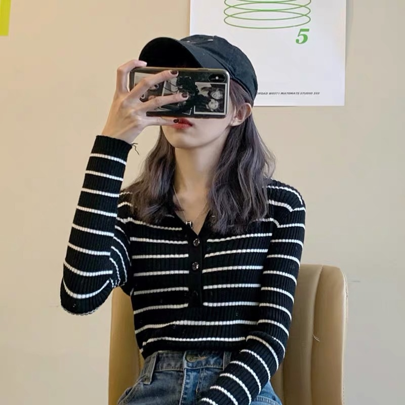 2021 new striped  with knitted bottom shirt women's thin slim long sleeve top