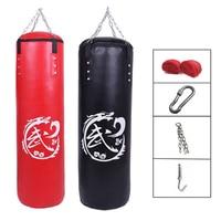 60cm/80cm/100cm/120cm PU Leather Punching Bag Empty Kick Sandbag Fitness MMA Boxing Muay Thai Boxer Training Set with Hand Wraps