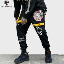 Aolamegs spodnie dresowe styl hip-hopowy spodnie z nadrukiem mężczyźni Baggy elastyczny sznurek do ściągania talii moda główna ulica fajne spodnie Harem Streetwear