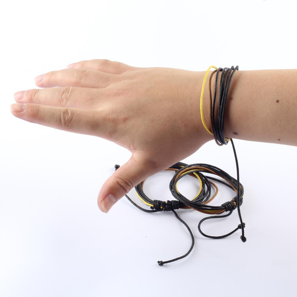 ZMZY Rope Vintage Women Men's Leather Bracelets Punk Handmade Leather Bracelet & Bangle Male Wristband Wrap Men Jewelry