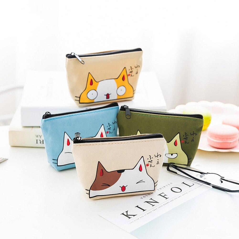 Retro Mini Bag Women Coin Purses Kawaii Short Wallet Girls Cat Small Canvas Purse Card Bags Womens Hand Purses for Ladies Kids
