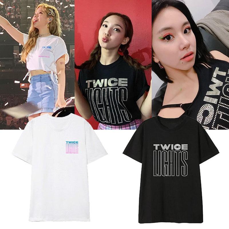 Kpop TWICE TWICELIGHTS álbum camisas Streetwear camiseta suelta Camiseta de manga corta Tops camiseta DX1128