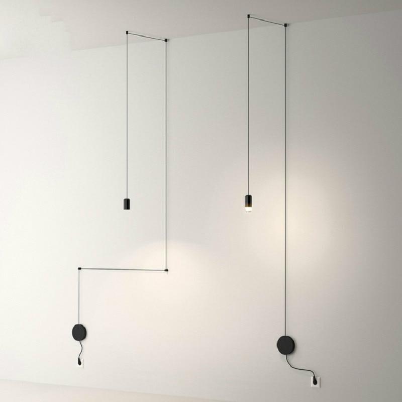 Lámpara colgante araña minimalista escandinavo geometría moderna Simple sala de estar luminaria larga línea moderna lámpara