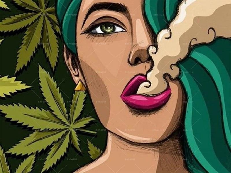 1 pieza de imágenes artísticas de pared geniales para sala de estar chica fumando hierba HD lienzo impreso pinturas al óleo decoración moderna del hogar Poster artístico