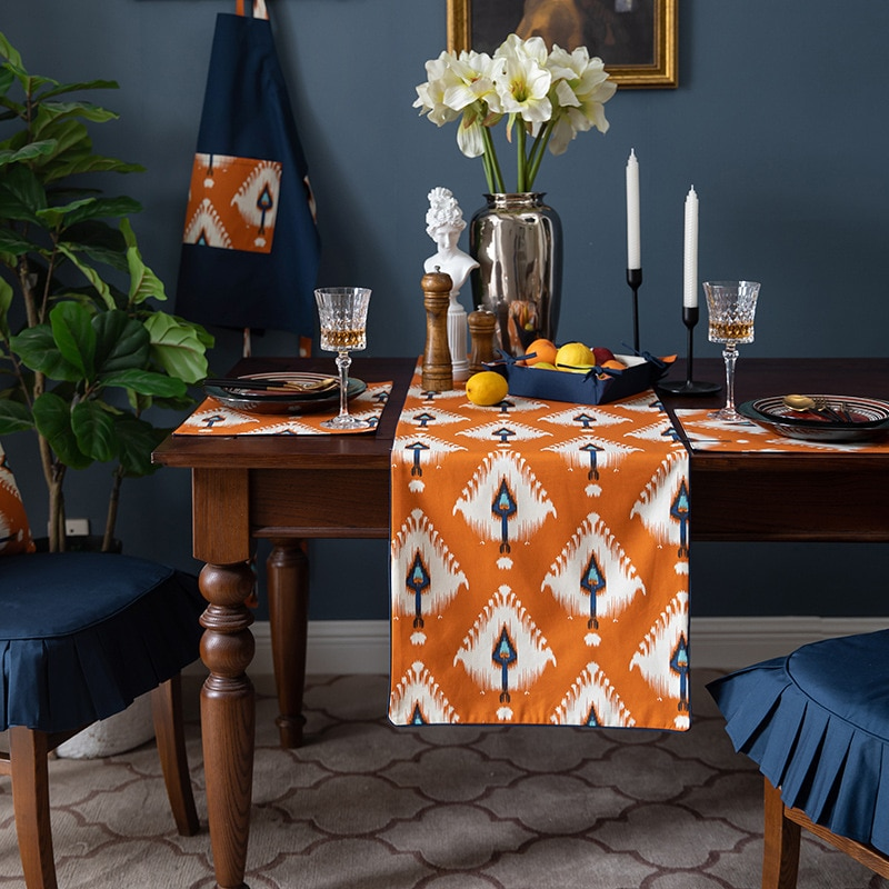 DUNXDECO-مفرش طاولة ، قماش قطني ، غطاء ، حديث ، فاخر ، برتقالي ، للحفلات والعشاء والديكور المكتبي