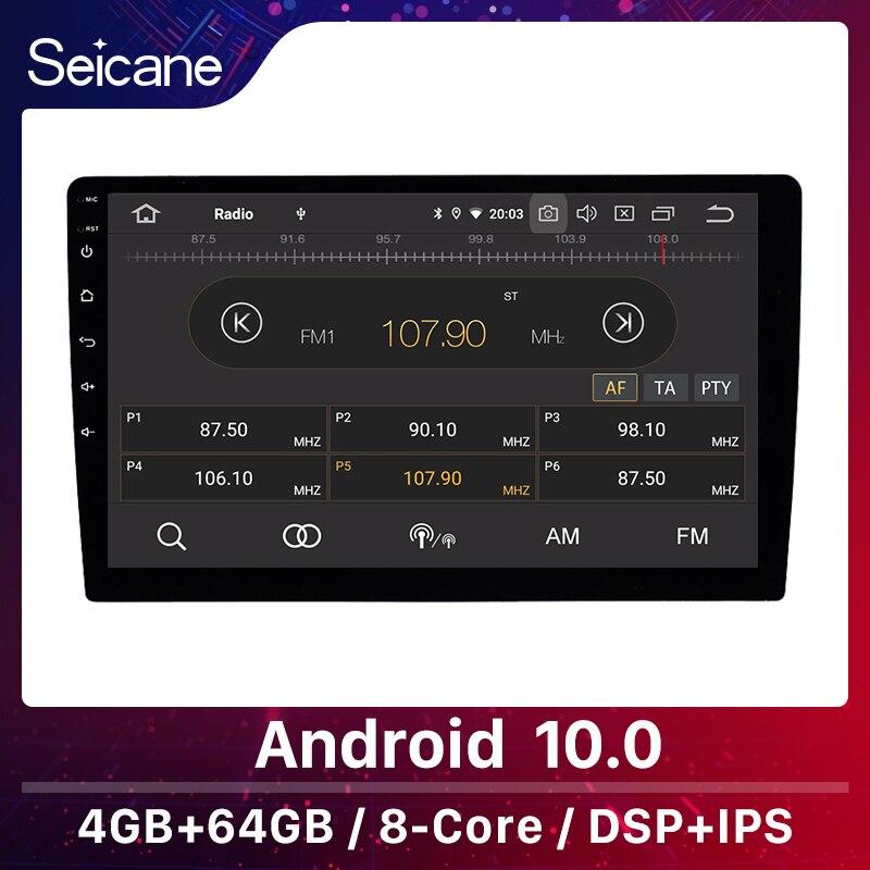 Seicane One Din Android 10,0 IPS coche Universal reproductor Multimedia 10,1 pulgadas 4 + 64GB GPS estéreo apoyo rds retrovisor Cámara TPMS