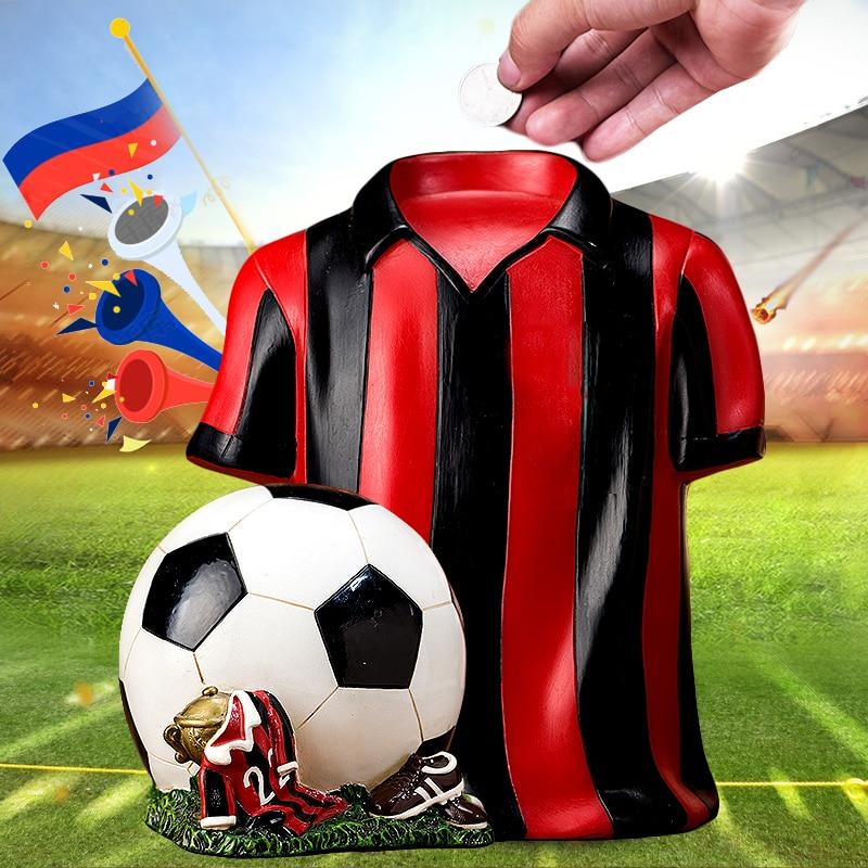 Regalo del Festival de monedas de cambio de personalidad para niño adulto, hucha de resina de bola de fútbol de la Copa Mundial del hucha