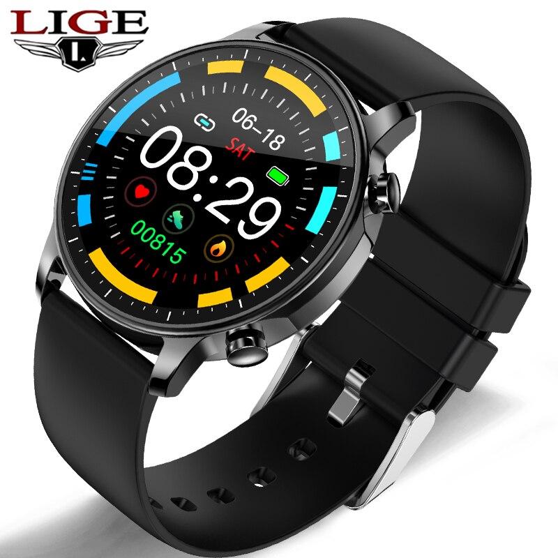 Reloj inteligente LIGE a la moda para hombre, Pantalla Completa táctil IP67, Monitor de pulso a prueba de agua para iOS, Android, reloj deportivo inteligente