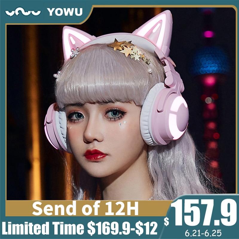 YOWU-auriculares inalámbricos 3G Cat para chica, cascos con luz RGB y reducción...