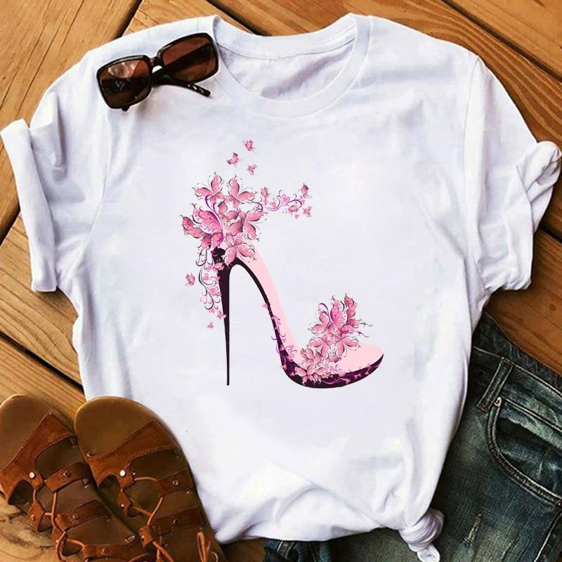 Camiseta blanca de mujer, moda de Zapatos de tacón alto, camiseta de...
